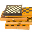 Isolated on white vintage  chess boxes — Stock Photo