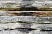 Old and grunge wooden log wall — Stock Photo