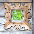 Decorative window in old farm — Stock Photo