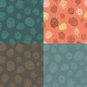 Four seamless vector backgrounds with cones. — Stock Vector