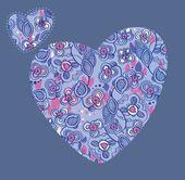 Padrão linear floral em forma de um coração — Vetor de Stock