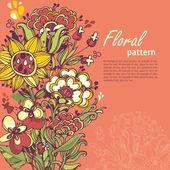 Abstact floral. hojas y plantas estilizadas — Vector de stock