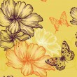 Seamless floral background with wild roses and butterflies, hand-drawing. Vector. — Stock Vector