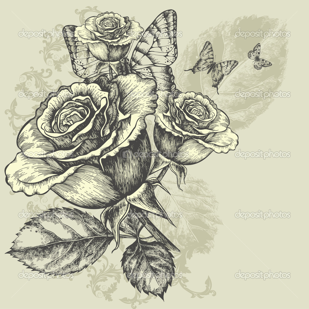 Butterfly and rose drawing - photo#14