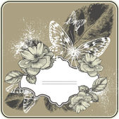 Старинный фон с рамкой, цветущие с розами и бабочками. рука рисования векторных. — Cтоковый вектор