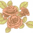 Bouquet of blooming roses, hand-drawing. Vector illustration. - Stock Vector