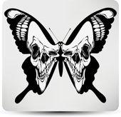 蝴蝶的头骨。矢量插画 — 图库矢量图片