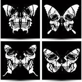 Impostare farfalle teschi. illustrazione vettoriale. — Vettoriale Stock