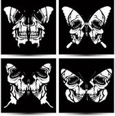 Set butterflies to skulls. Vector illustration. — Stock vektor