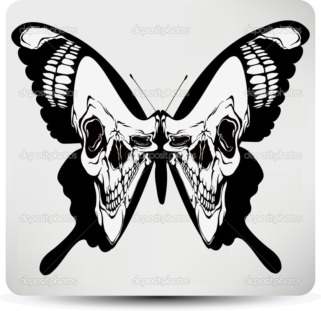 Butterfly skull. Vector illustration — Stock Vector #11448550