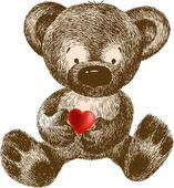 Teddy Bear with heart, hand-drawing. Vector illustration. — Stock Vector