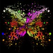 Butterfly on background of with color spots. Vector illustration. -  
