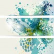 Set of three banners with butterflies and abstract blots — Stock Vector #11643778