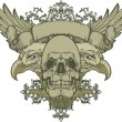 Skull with wings and double-headed eagle, hand-drawing. Vector illustration. - Imagen vectorial