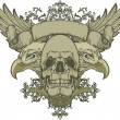 Skull with wings and double-headed eagle, hand-drawing. Vector illustration. - Stock Vector