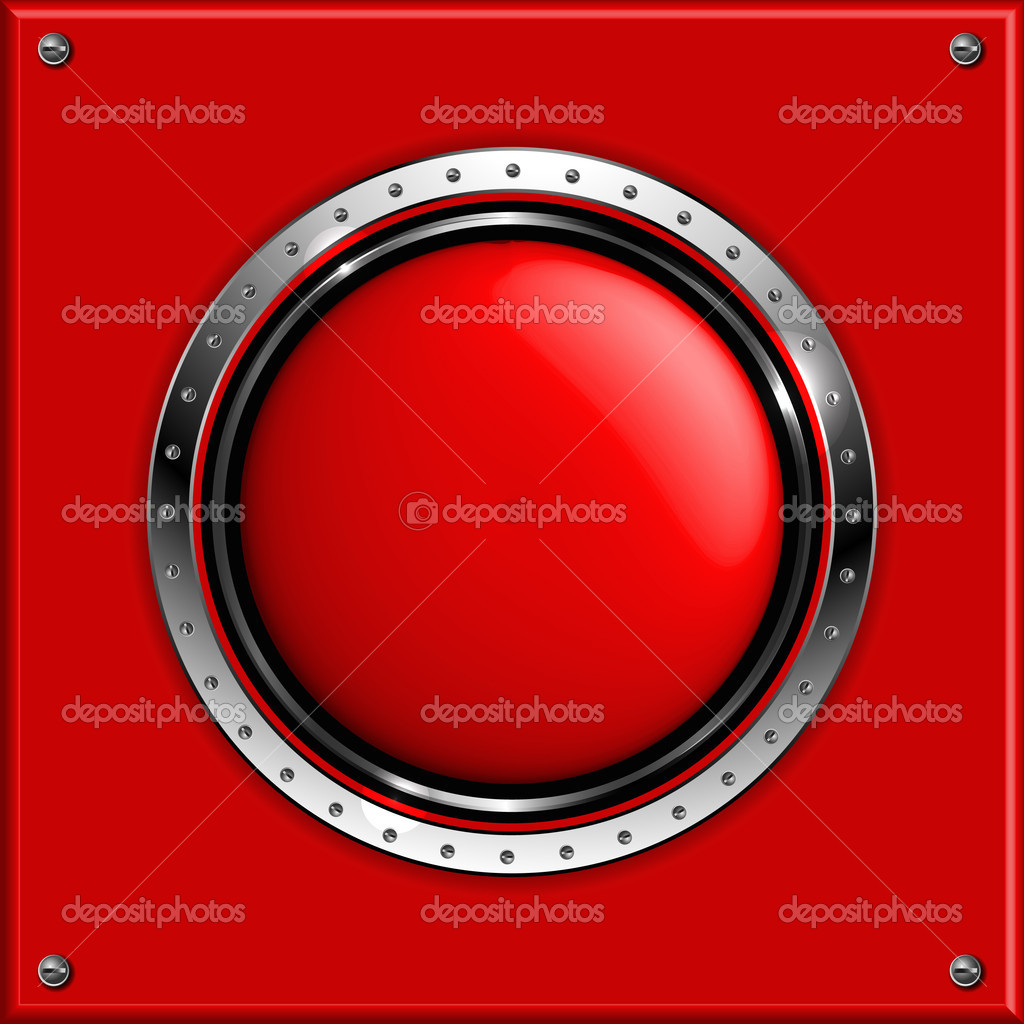 Red abstract metallic background with round glossy banner, vector. — Stock Vector #11895736
