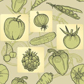Seamless pattern of fruit, vegetables and berries. Hand drawing, vector illustration. — Stock Vector