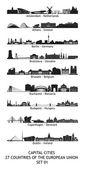 Horizonte das cidades capitais da união europeia - conjunto 01 — Foto Stock