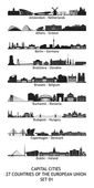 Skyline of the capital cities of the european union - set 01 — 图库照片