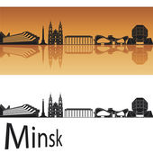 Minsk skyline in orange background — Stock Vector
