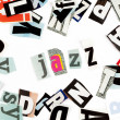 Stock Photo: Jazz inscription made with cut out letters