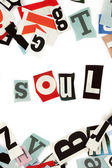 Soul inscription made with cut out letters — Stock Photo