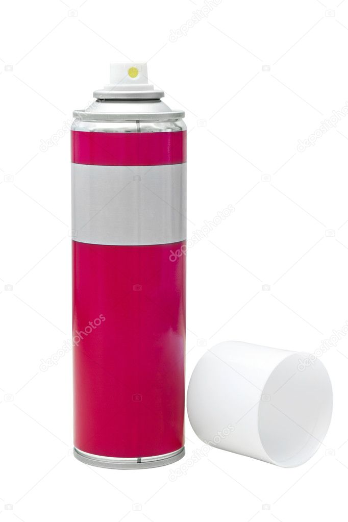 Image reddish gray with a white spray can lid isolated on white — Stockfoto #11010135