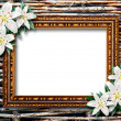 Frame with lily flowers — Stock Photo