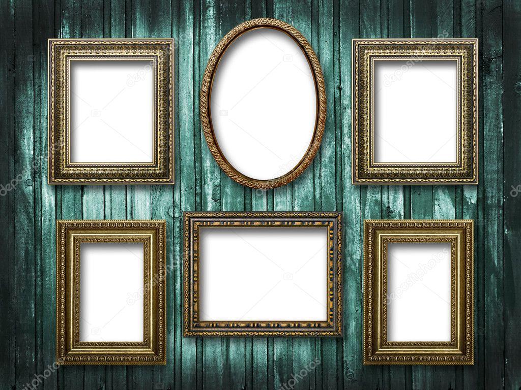 Seis marcos para fotos en un grunge de fondo de madera foto de stock plus69 11488333 Marcos fotos madera