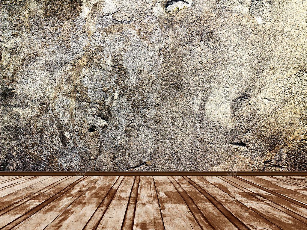 Interno di una stanza con un muro di pietra — Foto Stock © Plus69 ...