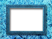 Ice picture frame on a background of ice crystals — Stock Photo