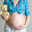Pregnant woman caressing her belly with a bear in his hand and c — Stock Photo