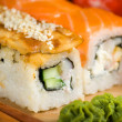 Japanese sushi traditional Japanese food. Roll made of Smoked — Stock Photo #11036029