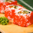 Japanese sushi traditional Japanese food. Roll made of Smoked — Stock Photo