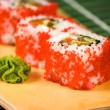Japanese sushi traditional Japanese food. Roll made of Smoked — Stock Photo #11036034