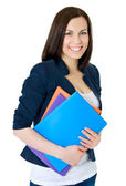 Happy successful business woman. Isolated over white background — Stock Photo