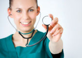 Macro shoot of medical person for health insurance — Stock Photo