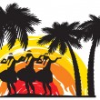Hula dancers in Hawaii — Stock Vector