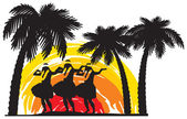 Hula dancers in Hawaii — Stock Vector