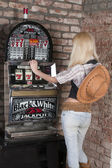 The girl in the country-style casino — Foto Stock