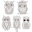 Stok Vektör: Set of cute owls.