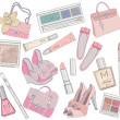 Women shoes, makeup,cosmetic and bags element set. — Vector de stock #11077750
