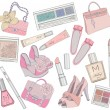 Stok Vektör: Women shoes, makeup,cosmetic and bags element set.