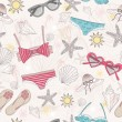 Cute summer abstract pattern. Seamless pattern with swimsuits — Stockvektor