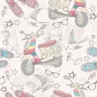 Stockvector : Cute grunge abstract pattern. Seamless pattern with scooters