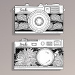 Retro photo cameras set. Vintage camera - Stock Vector