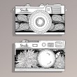 Retro photo cameras set. Vintage camera — Imagen vectorial