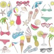 Summer beach elements set - Stock Vector