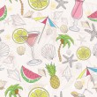 Cute summer abstract pattern. Seamless pattern with coctails — Stockvektor