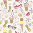 Cute summer abstract pattern. Seamless pattern with ice cream — Imagens vectoriais em stock